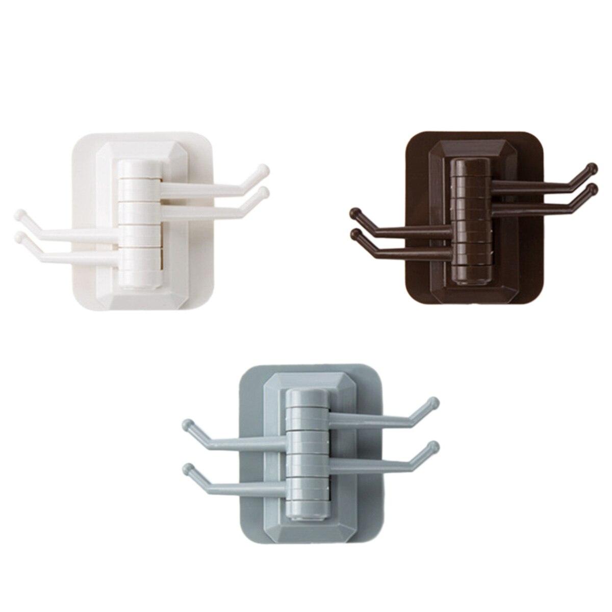 Creative Rotatable Wall Hook Self Adhesive Towel Rack Key Bag Hanger Kitchen Bathroom Storage Hanging Holder Rack