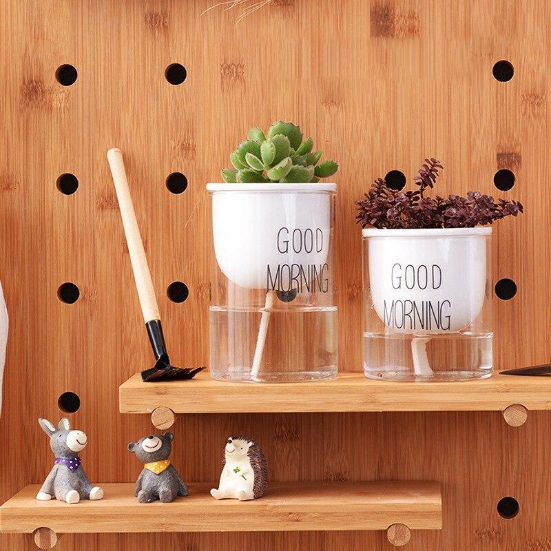 Automatic Self Watering Plants Pot Ceramic Glass Double Planter Pot Garden Auto Irrigate Pots Creative Home Decoration Articles