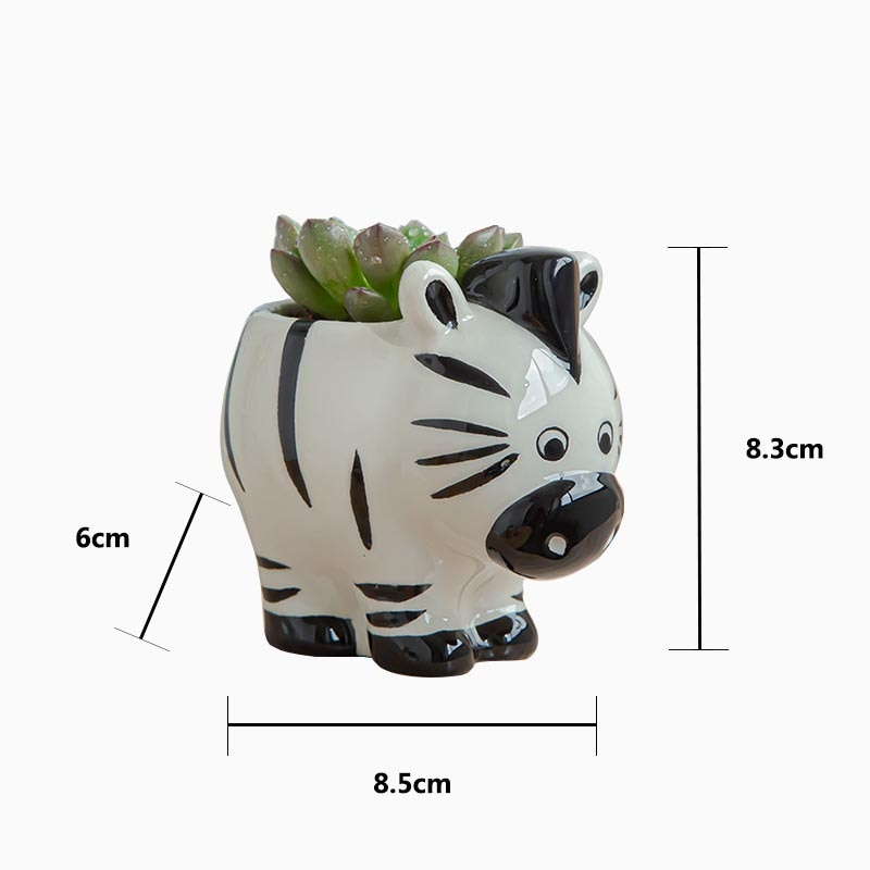 Nordic New Style Ceramic Animal Flower Pot Cartoon Zebra Sheep Cow Head Mini Pot Succulents Plants Bonsai Pots Home Decoration