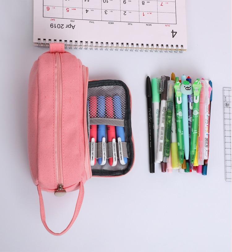 JIANWU 1Pc Solid simplicity Large capacity pencil bag Cute student High capacity pencil case kawaii Storage bag School supplies