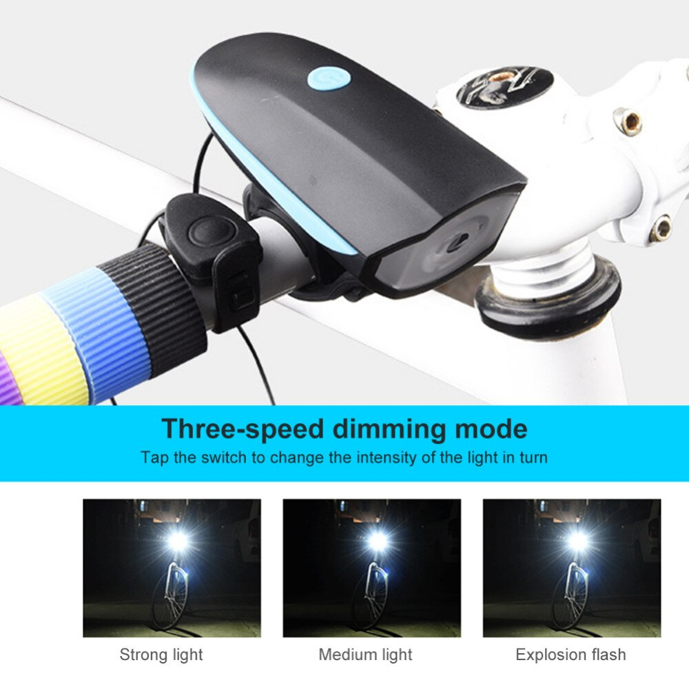 2 in 1 Bicycle Horn Headlights Bike Electric Bell LED Light USB Charging Night Riding Glare Flashlight Bicycle Accessories
