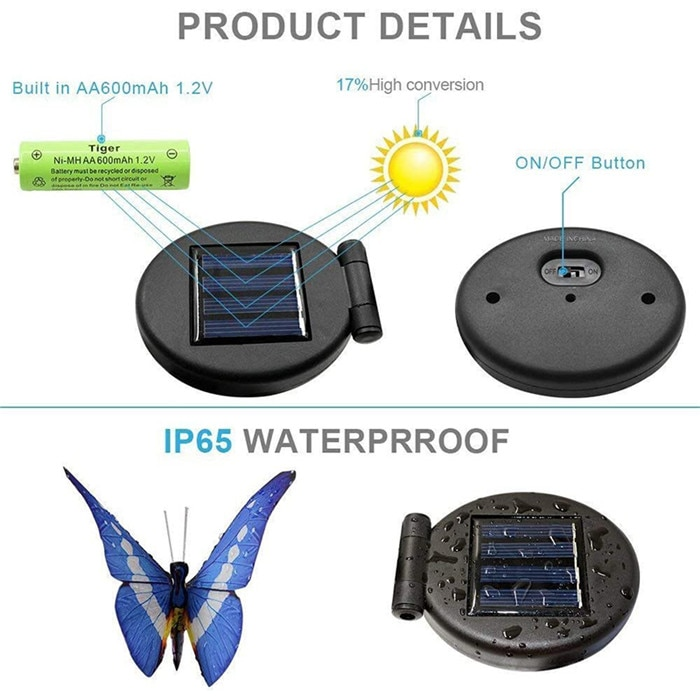 3 Pack Butterfly Solar Garden Light Outdoor Solar Stake Light Multi-color Changing LED Garden Light For Patio Backyard Lawn Path