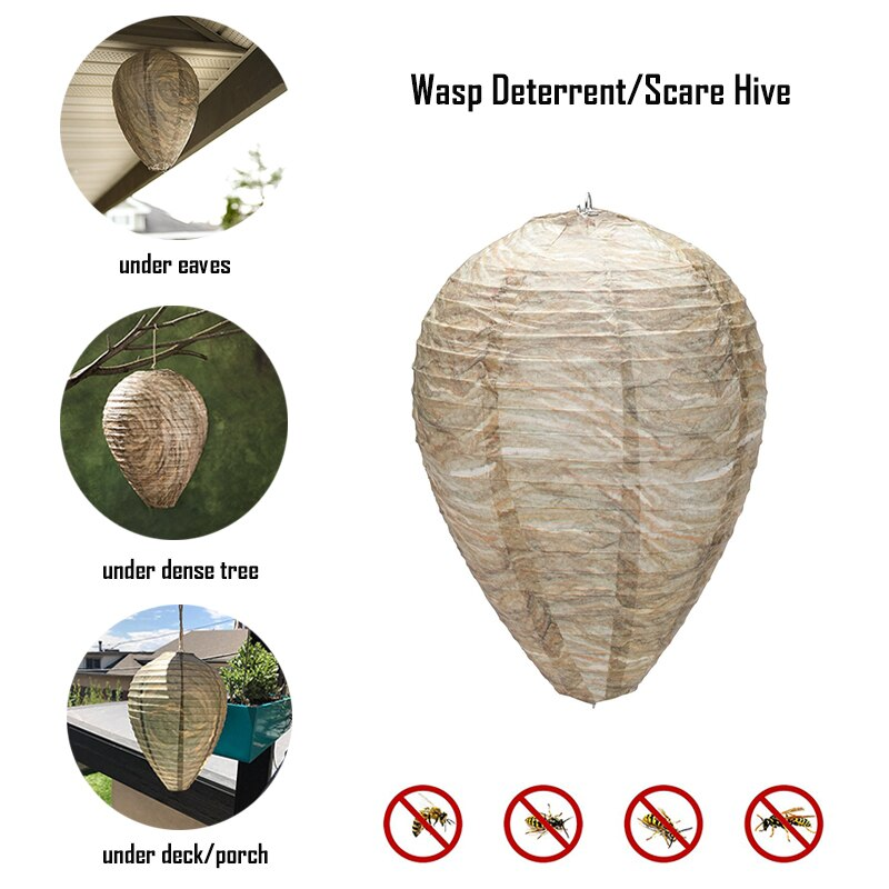 New Hanging Wasp Bee Trap Fly Insect Simulated Wasp Nest Effective Safe Non-Toxic Hanging Wasp Deterrent for Wasps Hornets
