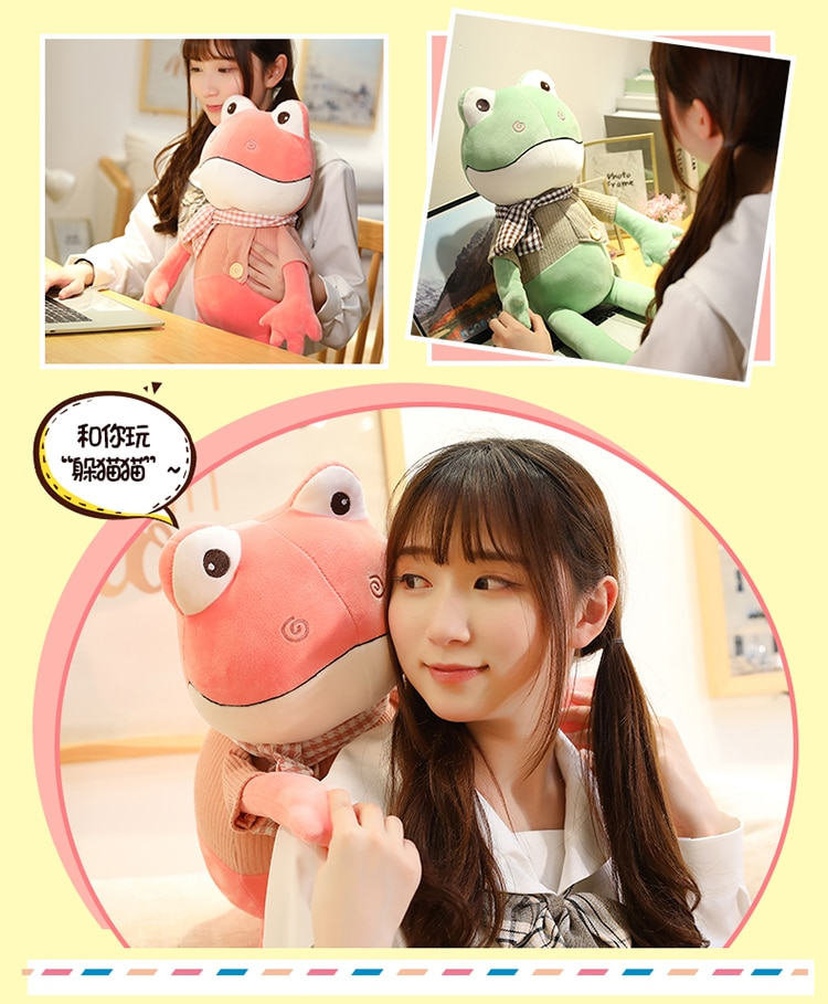 New Kawii 38cm-90cm Funny Long Legs Frog With Scarf Plush Toys Soft Stuffed Cartoon Animals Doll Kids Accompany Boys Best Gifts