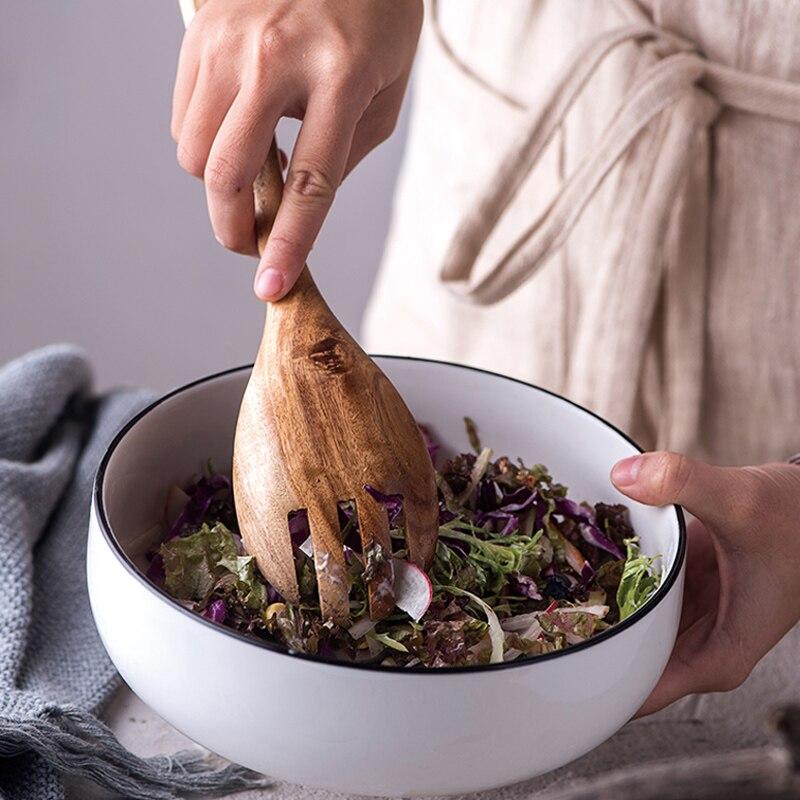 2Pcs Wooden Spoon Salad Fork Large Serving Spoon Set Wood Kitchen Utensils Long Handle Soup Spoon Ladle Salad Server Tableware