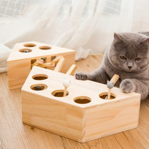 Whack A Mole Cat Toy Wooden Play Toy