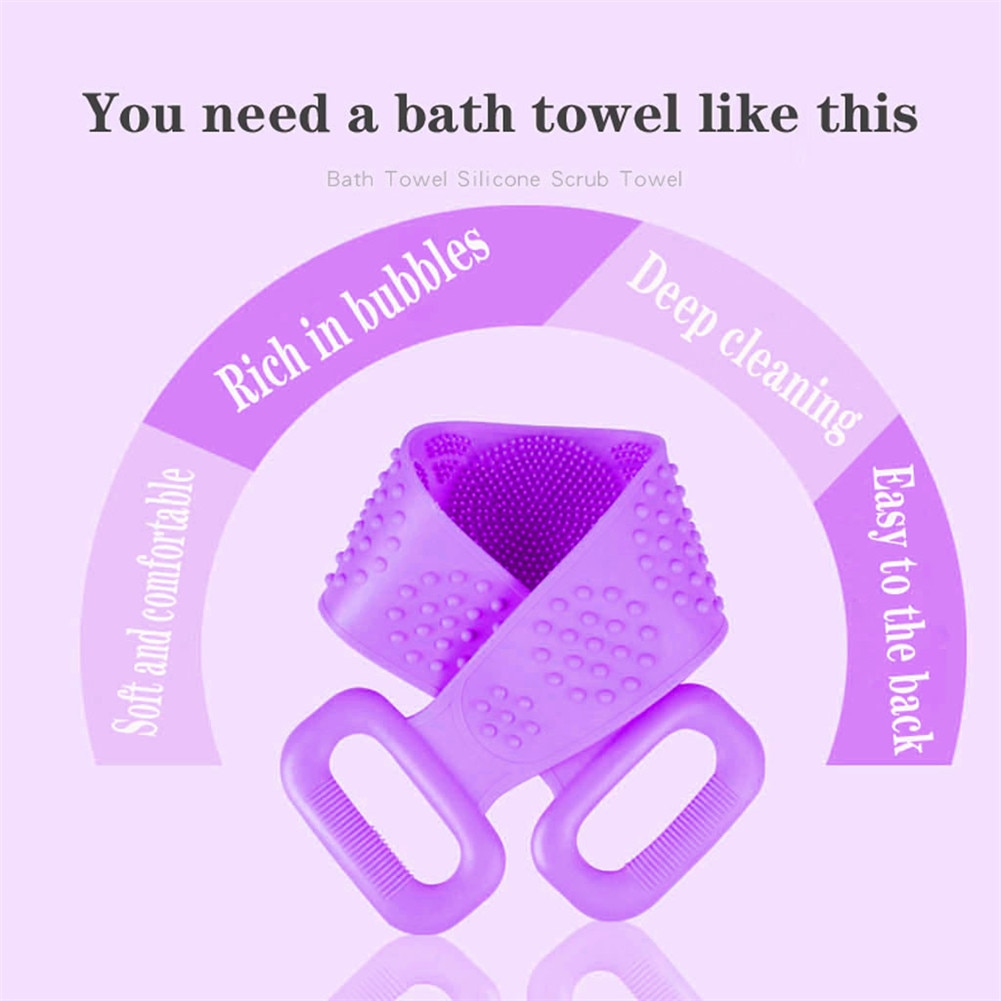 Silicone Back Scrubber Soft Loofah Bath Towel Bath Belt Body Exfoliating Massage For Shower Body Cleaning Bathroom Shower Strap