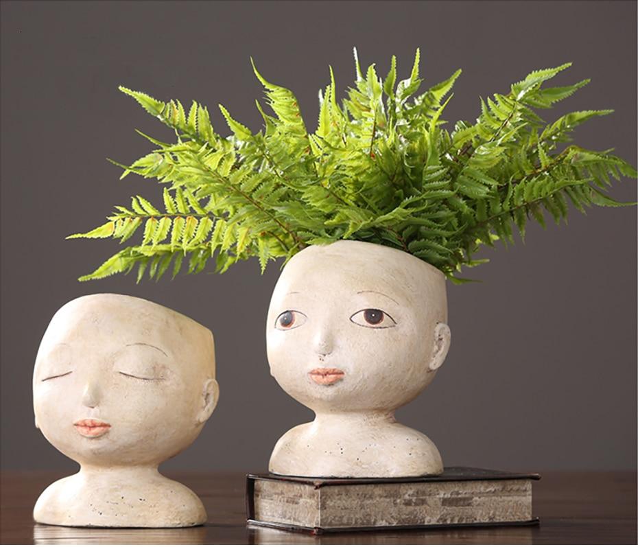Human Face Vase Abstract Resin Flower Pot Doll Shape Sculpture Succulents Head Shape Vase Flower Arrangement Garden Home Decor