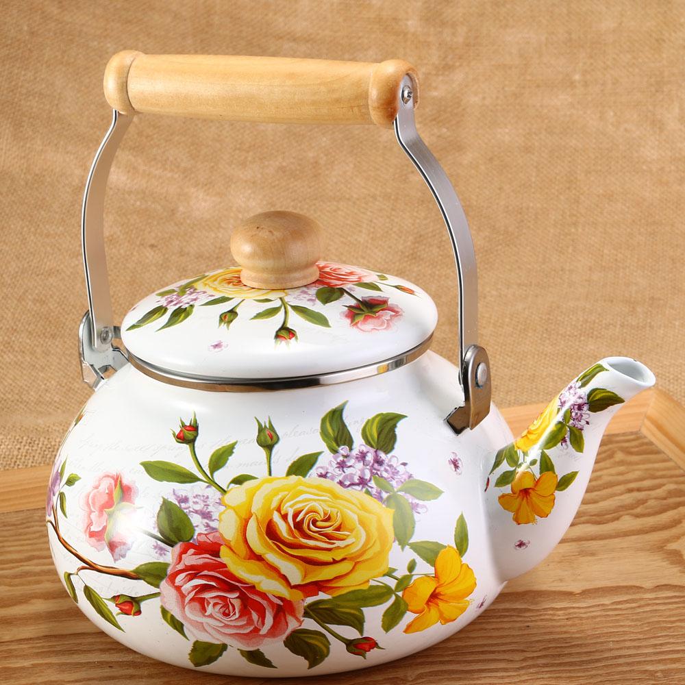 1pcs 2.5L Flowers Stamp Pot Smooth Kettle Enamel Tea Pot Used On Electromagnetic Stove/Gas Range/Electronic Tube