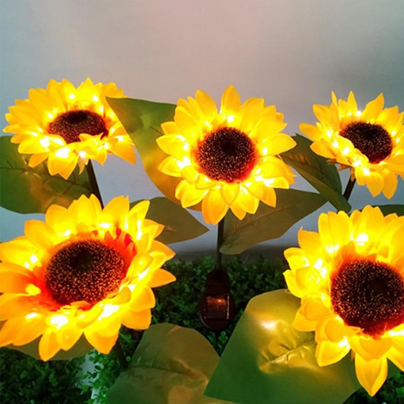 2pcs Sunflower Style Solar Light LED Lawn for Outdoor Garden Courtyard Outdoor Garden Powerful Sunflower Solar Lamps Night Light