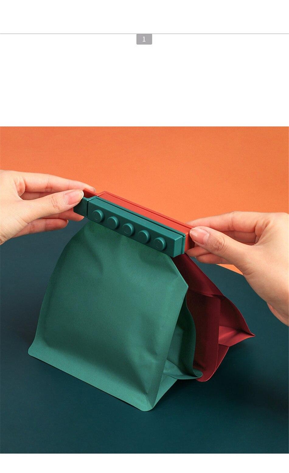 Creative Food Sealing Clip Kitchen Building Block Fresh-keeping Clip Snack Plastic Bag Moisture-proof Sealing 4 pcs Clips