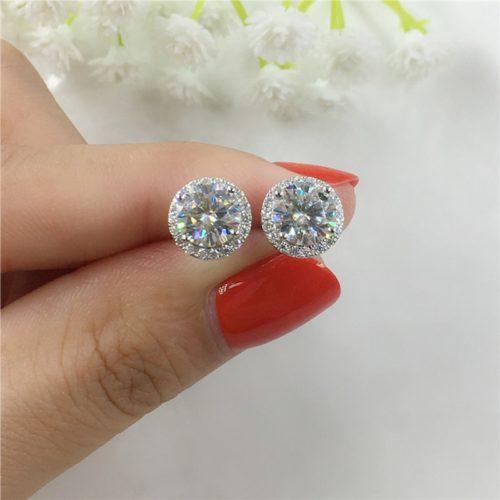Silver Diamond Stud Earrings Ladies Jewelry