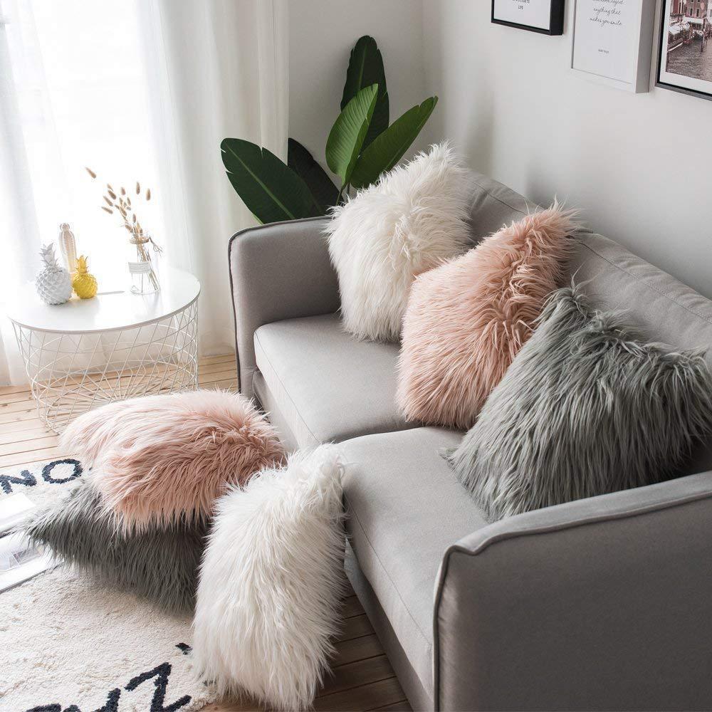 45x45cm Shaggy Fluffy Cover Soft Fur Plush Cushion Cover Sofa Decorative Pillowcase Pillow Covers Living Room Bedroom Decor