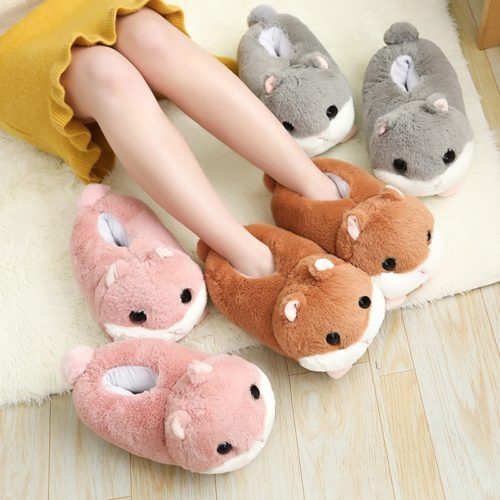 Plush Shoes Cute Hamster Design
