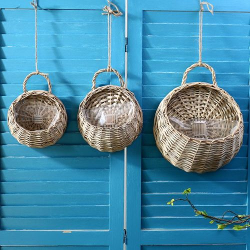 Rattan Hanging Basket Wall Planter