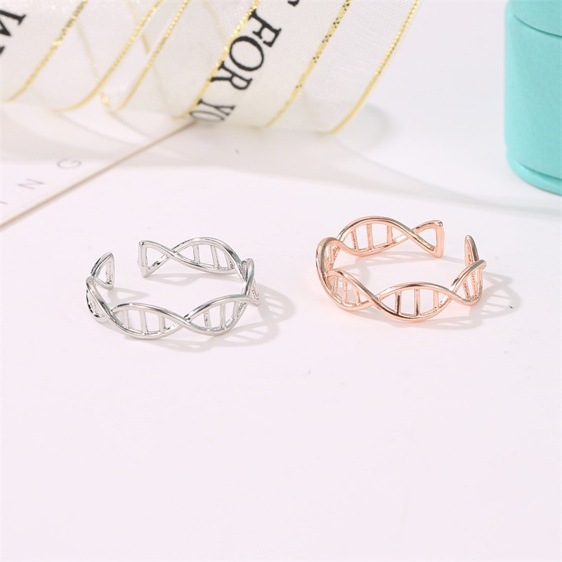 Fashion DNA Chemistry Molecule Open Rings For Women Men Simple Style Rose Silver Color Finger jewelry Party Gifts