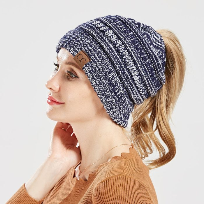 Ponytail Winter Hat Knitted Beanie