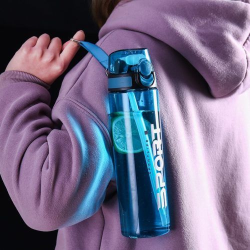 Water Bottle with Straw Sports Drinkware