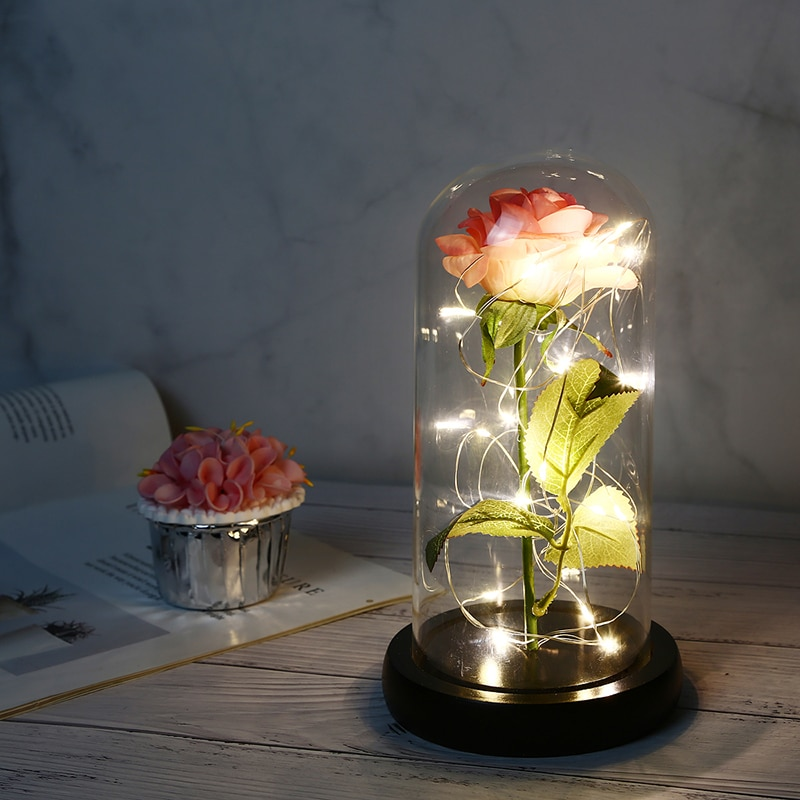 LED Light Rose Flowers Eternal Rose In Glass Dome Artificial Flowers Christmas Valentine Gift Beauty and Beast In Glass Cover
