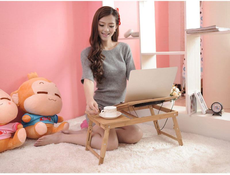 Actionclub Nature Bamboo Laptop Table Simple Computer Desk With Fan For Bed Sofa Folding Adjustable Laptop Desk On The Bed