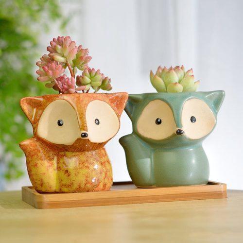Fox Planter Ceramic Succulent Pot
