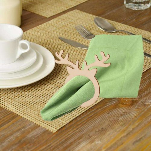 Wooden Napkin Rings Deer Design (10pcs)