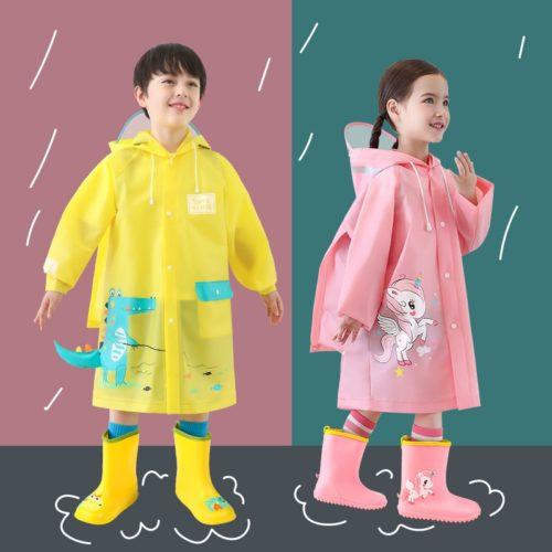 Kids Rain Poncho Cartoon Design