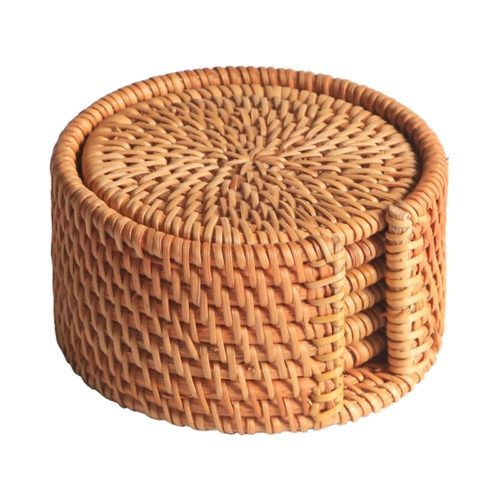 Rattan Coasters with Holder Set (6pcs)