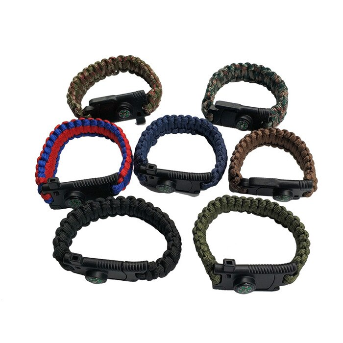 Men Braided Multi-function Outdoor Paracord Survival Bracelet Knife Compass Camping Rescue Emergency Rope Bracelets For Women