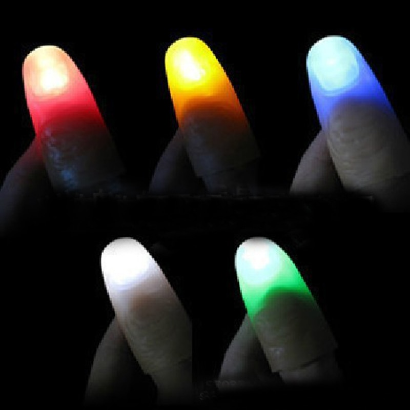 2pcs/set Magic Thumbs Light Toys for Adult Magic Trick Props Blue Light Led Flashing Fingers Halloween Party Toys for Children