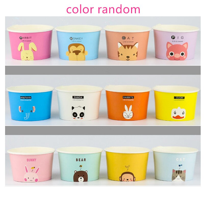 50pcs Thicken disposable cartoon animal ice cream paper bowl 130ml 200ml yogurt bowl pudding paper cup small cake packaging cups