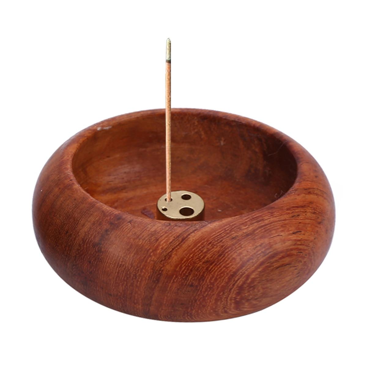 1pc New Rosewood Incense Burner Stick Holder Bowl Shape Censer Home Decoration Smell Aromatic Smell Aromatic