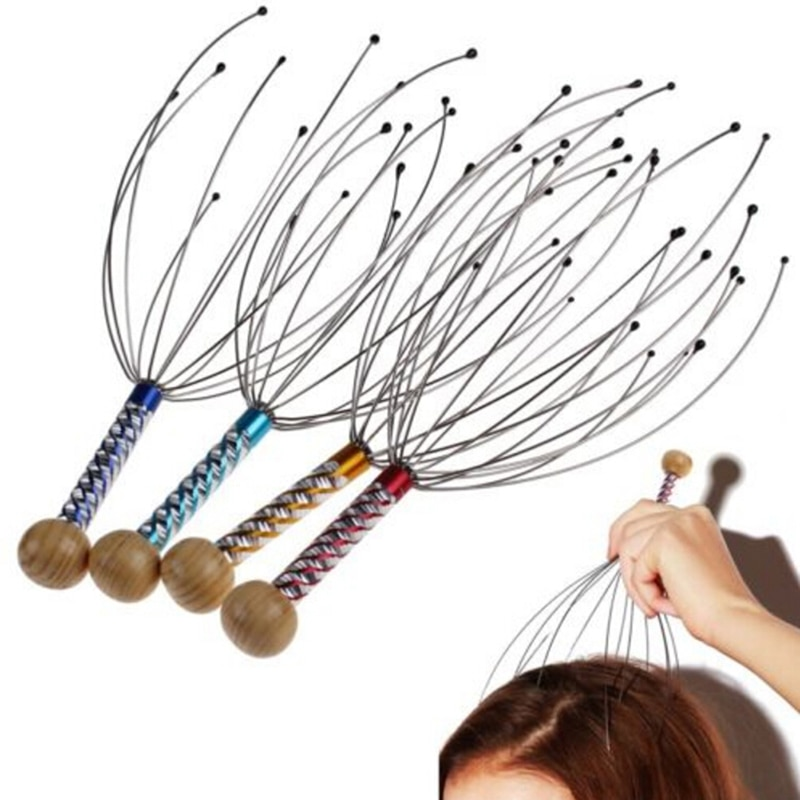 Body Head Massage Device Relaxation Octopus Scalp Massager Instrument Scratcher Relieves Tension Health Care Tools Random Color