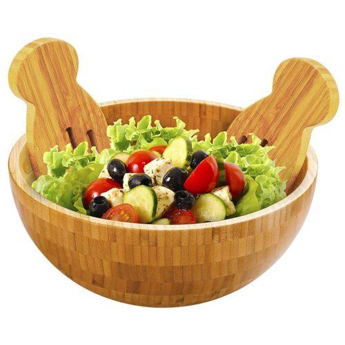 Bamboo Salad Bowl Natural Wood