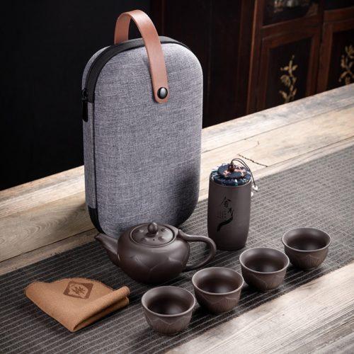 Portable Travel Tea Set with Bag