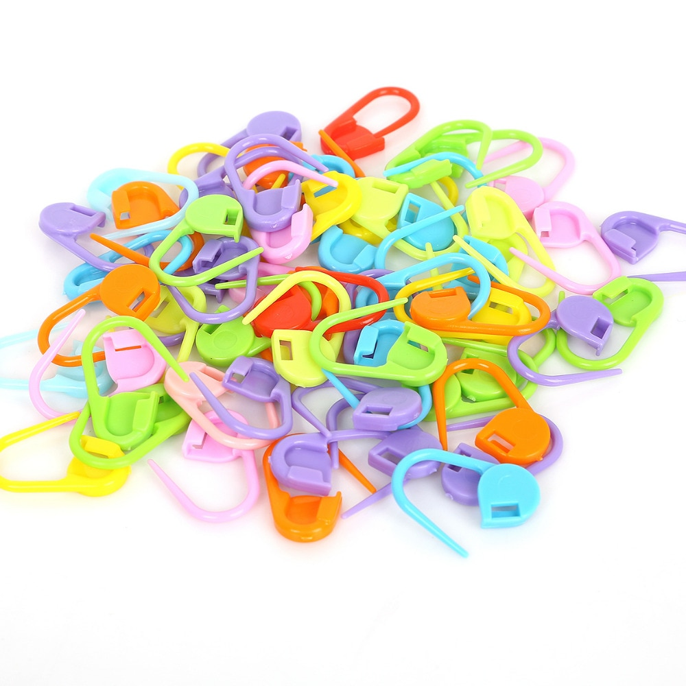 10Pcs/set Colorful Plastic Knitting Needles Crochet Locking Stitch Markers Crochet Hook Latch Knitting Clip Sewing Tools