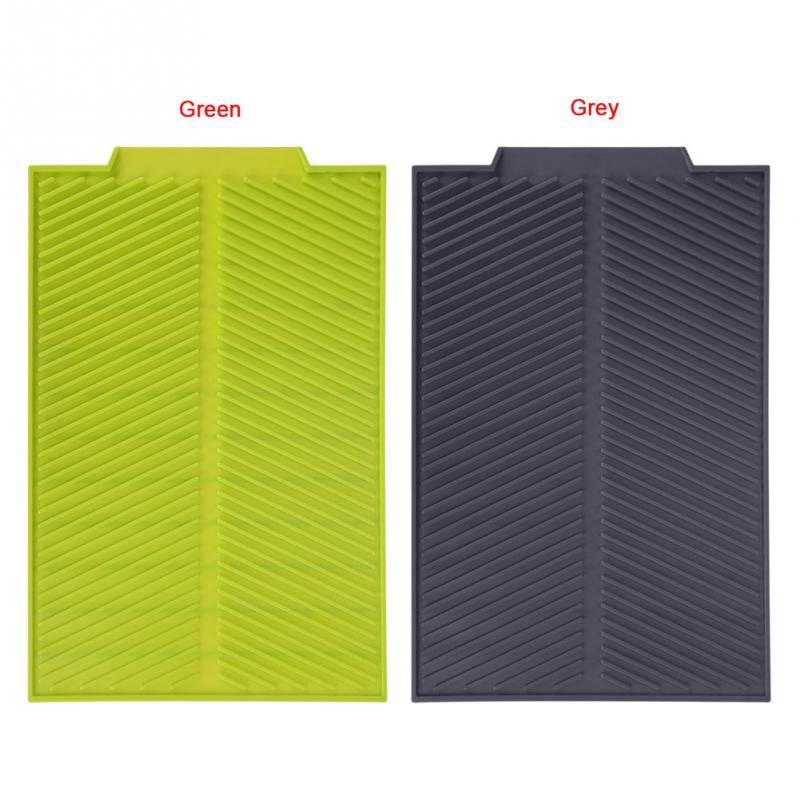 Silicone Dish Drying Mat Flume Folding Draining Mat,Rectangle Drain Mat Drying Dishes Pad Heat Resistant Non-Slip Tray Gray