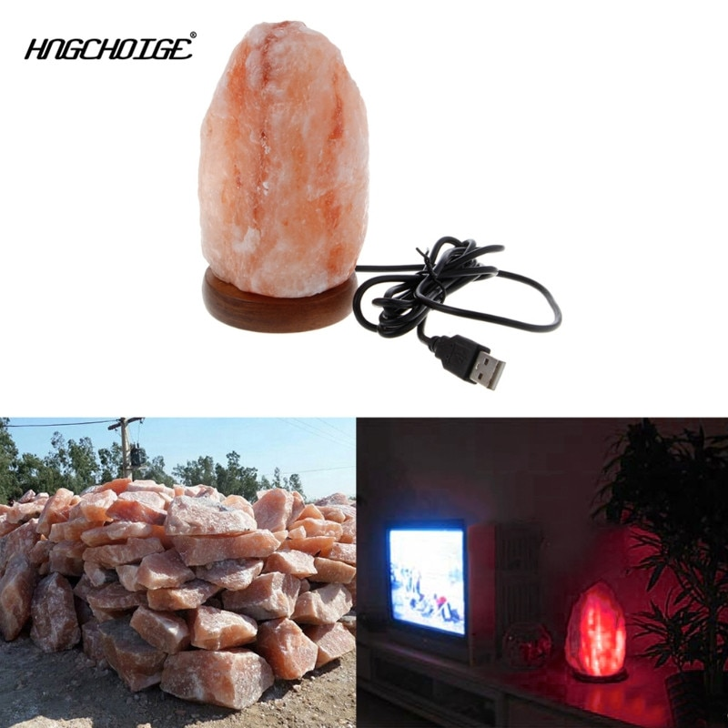 HNGCHOIGE Natural Shape Hand Carved USB Wooden Base Himalayan Crystal Rock Salt Lamp Air Purifier Night Light