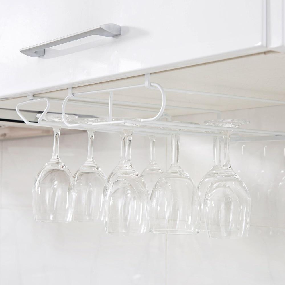 OTHERHOUSE Wine Glass Rack Hanging Wine Cup Holder Bar Goblet Stemware Storage Racks Shelf Hanger Iron Kitchen Organizer