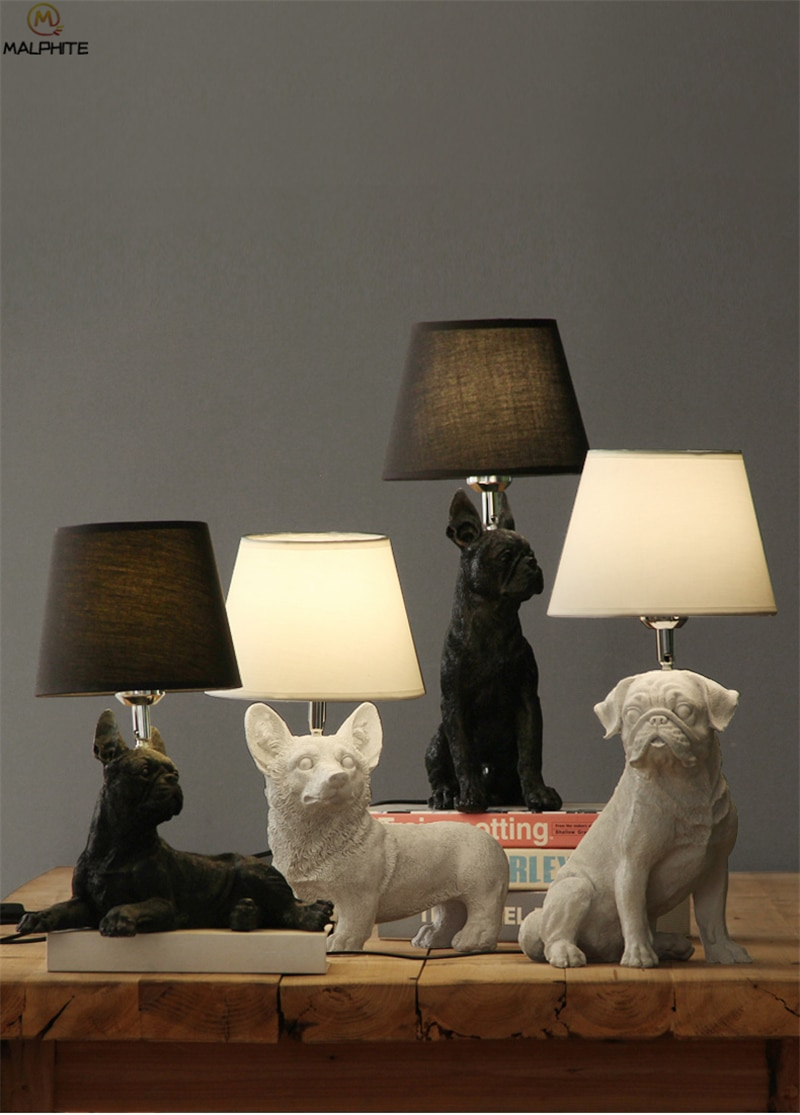 Creative Animals LED Table light Bedroom bedside lamp Living room Resin Dogs Table Lamps abajur para Home Deco lighting fixtures