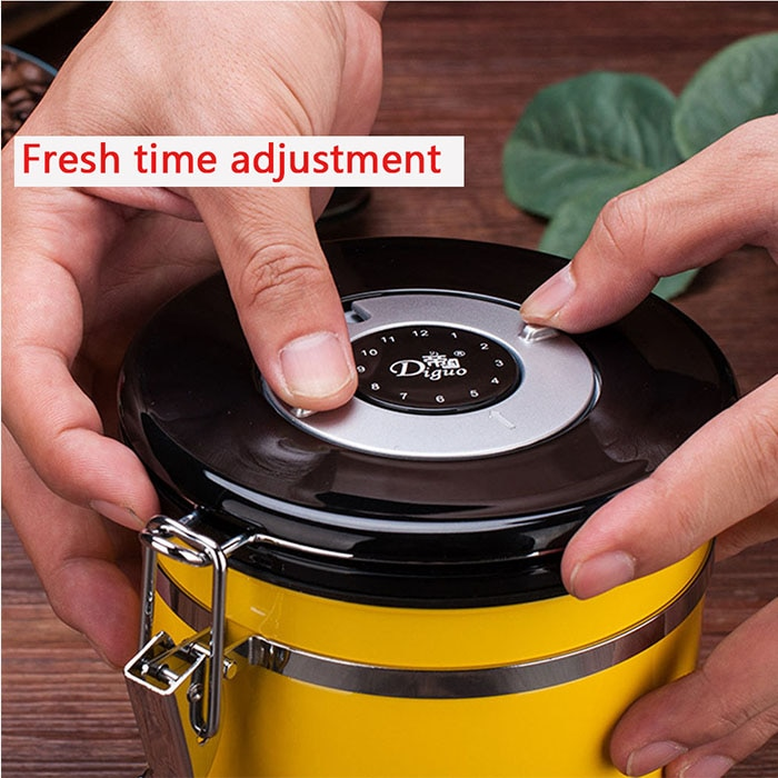 Coffee Jar Coffe Beans Container Stainless Steel Airtight Coffee Tea Canister Time Exhaust Valve Coffee Caddies kitchen Bar Tool