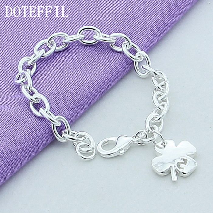 4 Leaf Clover Bracelet Silver Jewelry