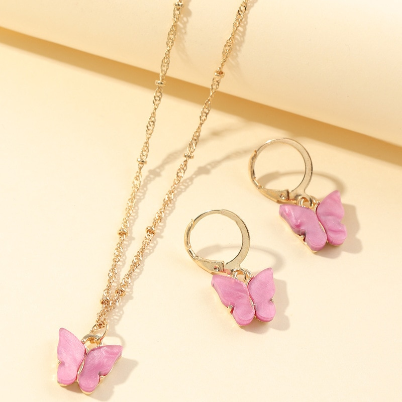 Fashion Multicolor Acrylic Drop Earrings Necklace for Women Trendy Cute butterfly statement Long Chain Jewelry Set