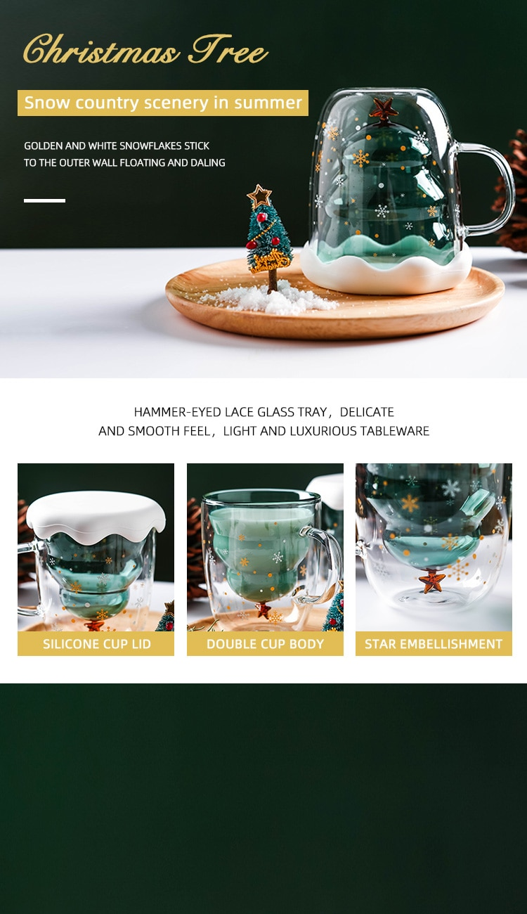 Christmas Cup Transparent Double Anti-Scalding Glass Christmas Tree Star Cup Coffee Cup Milk Juice Cup Children's Christmas Gift