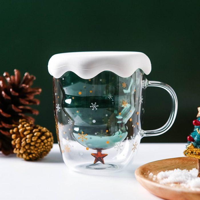 Christmas Tree Mug Double Wall Glass