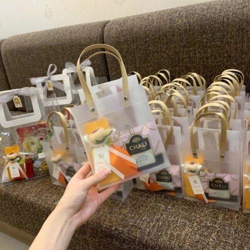 Transparent Gift Bag with Gold Handle (5/10pcs)