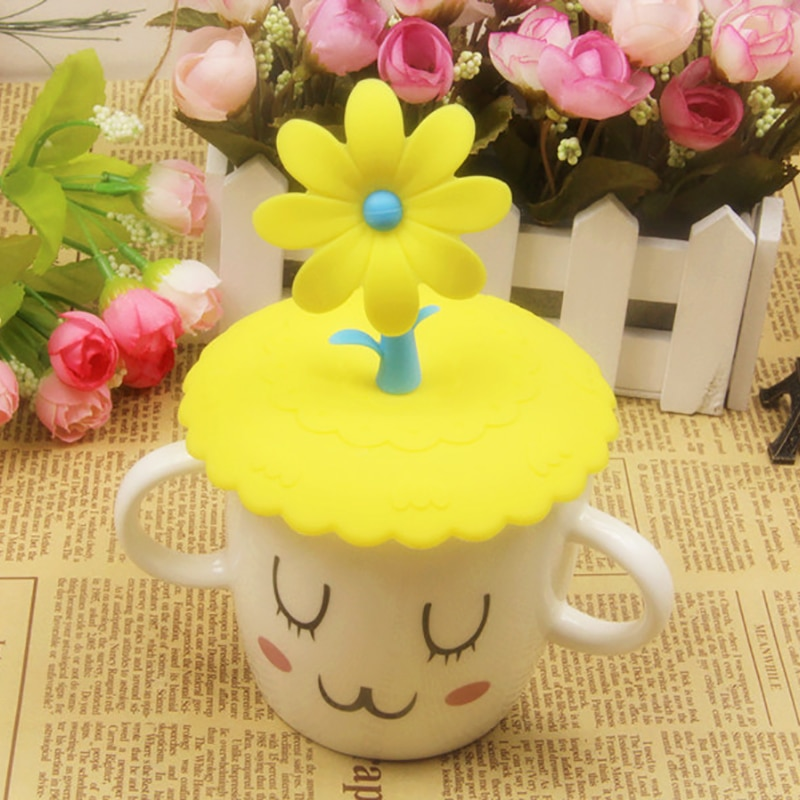 Cute Flowers Adorn Water Drinking Cup Lid FDA Silicone Anti-dust Bowl Cover Cup Seals Glass Mugs Cap Cups Lid-silicon