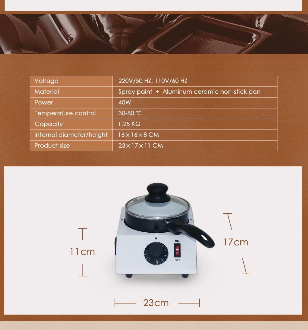 ITOP 40W Mini Electric Chocolate Melting Machine Single Pot Ceramic Non-Stick Pot Tempering Cylinder Melter Pan 220V