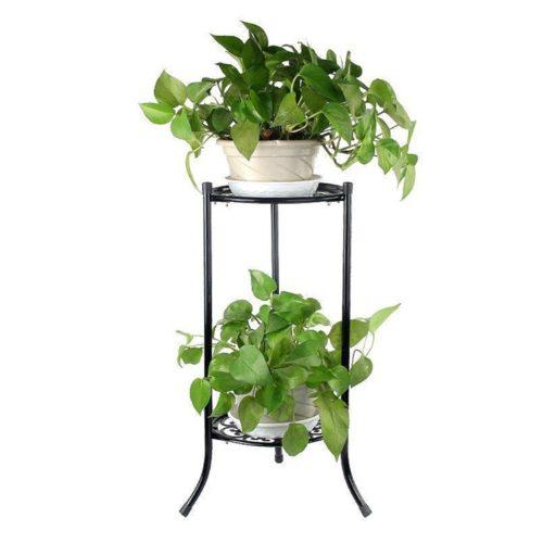 2 Pots Metal Floor Plant Stand