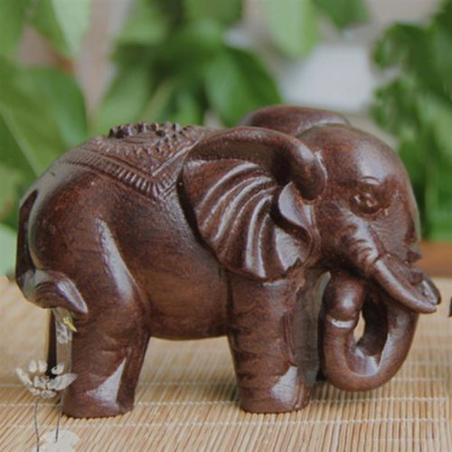 Wooden Elephant Statue Home Ornament